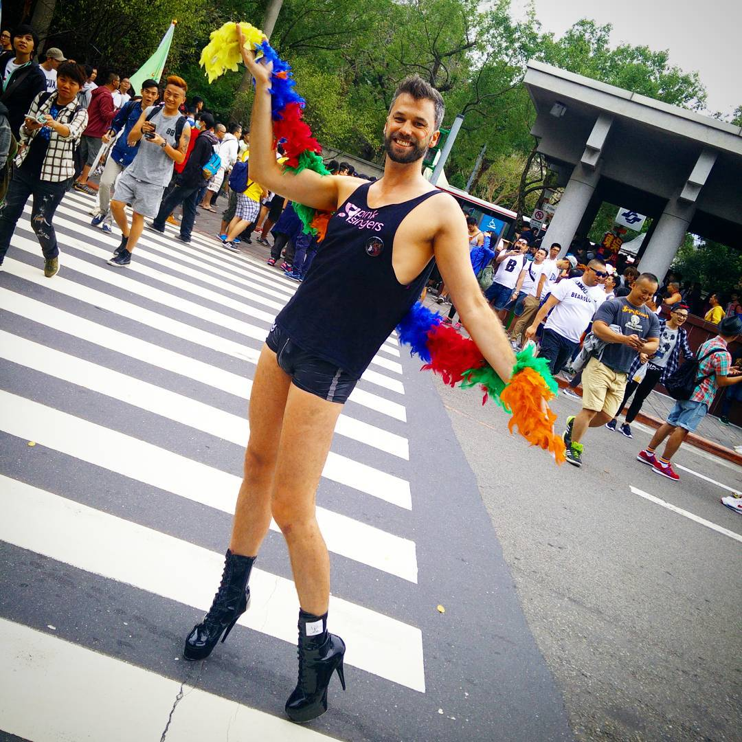 Simon Gay Taipei and Guy on High Heal during the Largest Parade in Asia